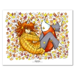 Warm Foxgirl in Leaves 11 X 14 inch Fine Art Print
